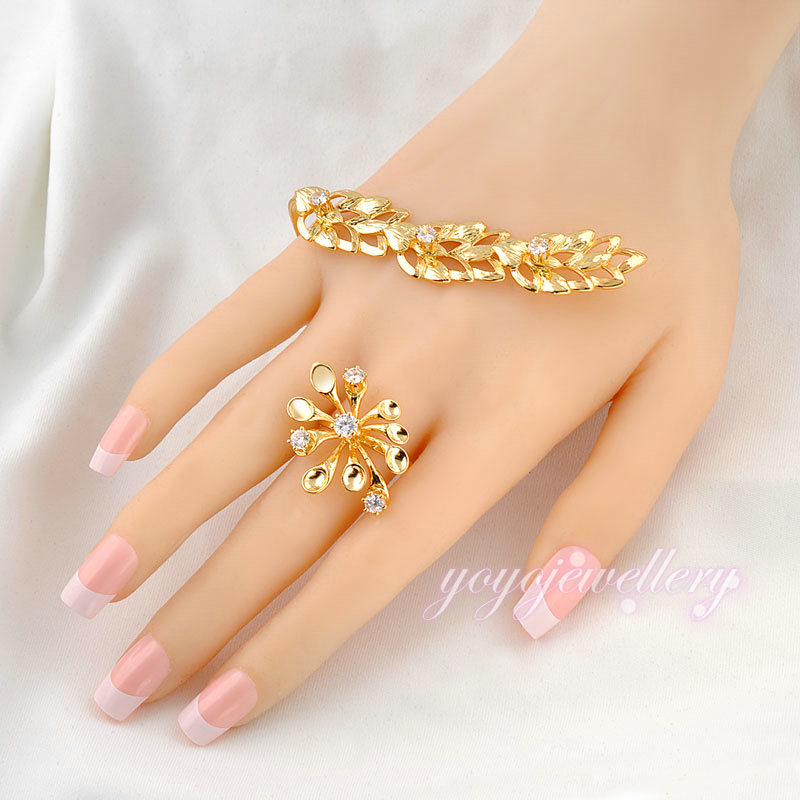 Unique Design Flower Ring Palm Bangle Leaf 18K Gold Plated Palm