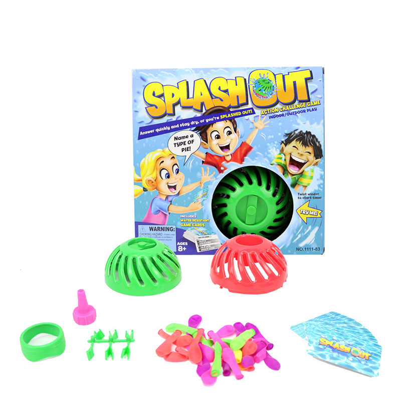 Water Bomb Splash Out Game Water Splash Toys Action Challenge Game Indoor/Outdoor Play Cards Game Party Interactive Tricky Toy