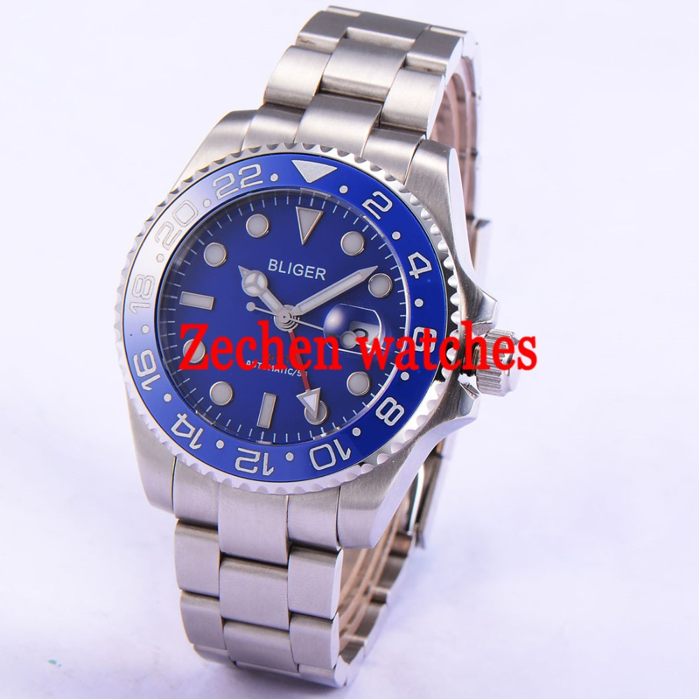 43mm Bliger Date Day Sapphire blue dial blue GMT Automatic Mechanical Luminous Mens Watch цена и фото
