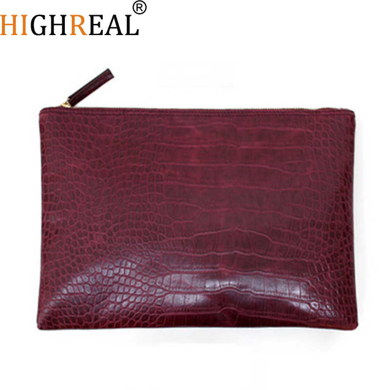 HIGHREAL Mode Krokodil Patroon vrouwen Tas Brand Design Envelop Dag Clutch Bag PU Leer Big Portemonnees en Handtassen Dropship