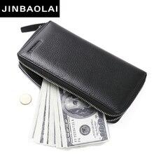 Jinbaolai Новая мода Мужчины кошелек натуральная кожа кошельки и сумки для мужчин люксовый бренд черный на молнии Мужчины сцепления бесплатная доставка