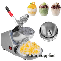 300w 2000r/min 143lb (65kg)/ h Electric Ice Shaver Ice Crusher Machine Electric Snow Cone Maker Stainless Steel Blade Bowl