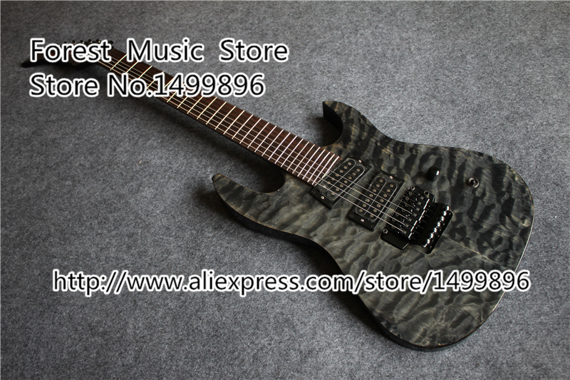 China Custom Shop 7 String Electric Guitars Quilted Finish Guitar With Floyd Rose Tremolo china custom shop transparant grey finish lp electric guitars with mahogany solid body for sale