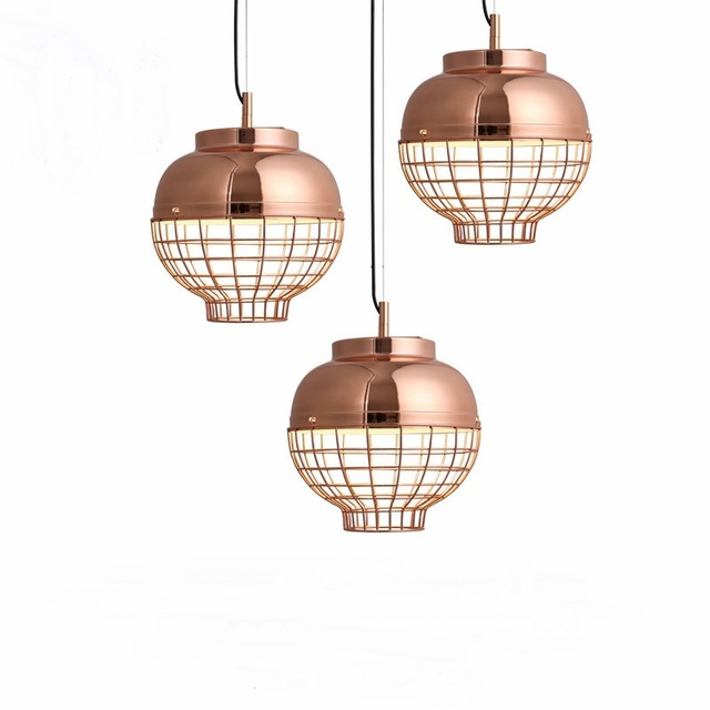 Nordic Modern Electroplated Metal Rose Gold Lantern Single Head Pendant Light Corridor Bar Bedroom Porch