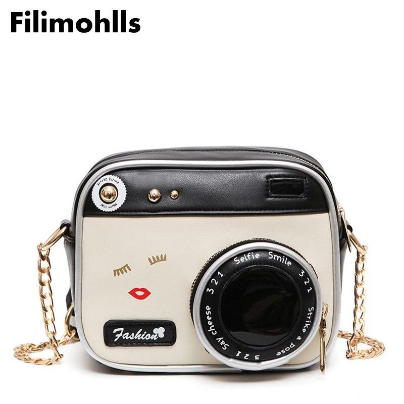 Bolsa Tote Lip-Handbag Camera-Shaped Small Flap Messenger Cross-Body-Bag Shoulder Funny