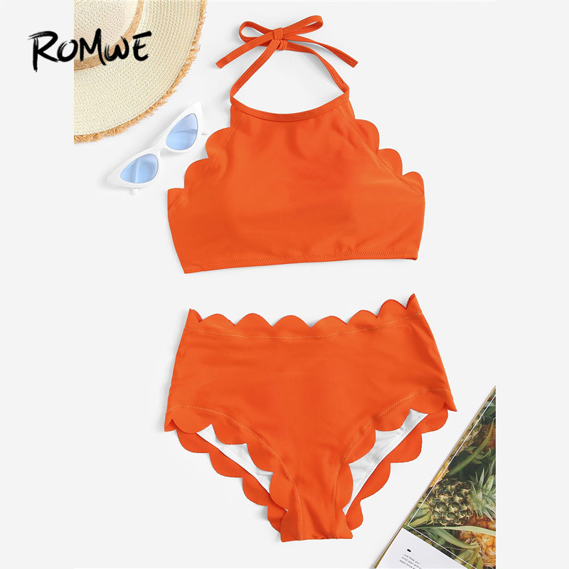 Romwe Sport Women Two Piece Swimsuit Scalloped Trim Halter Bikini With High Waist Bikini Bottoms Swimwear Summer Swiming Suit