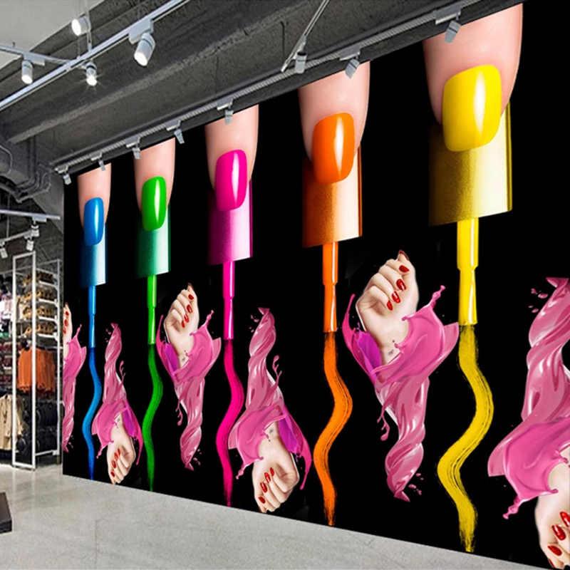 Custom 3D Foto Behang Nail Make-Up Nagellak Arm Cosmetica Winkel Mode Creatieve Abstracte Kunst Muurschildering Papel De Parede
