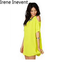 Irene Inevent 2017 Summer Women Casual Chiffon Solid Party Dress Off The Shoulder 3XL Plus Size