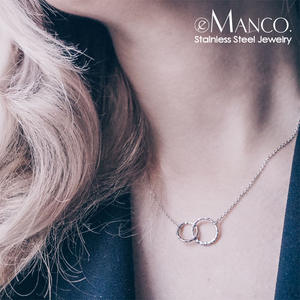 e-Manco gold pendant stainless steel women choker necklace