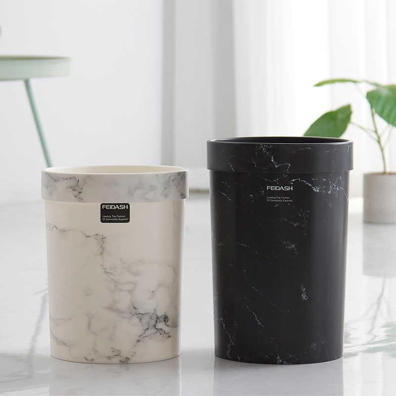 大理石パターンごみ缶プラスチックオフィス浴室台所ごみビン蓋なしのリビングルームのベッドルームの廃棄物ビンヨーロッパスタイル