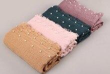 50 PCS/PC נשים כותנה פשתן רגיל קמטים חיג אב צעיף מוסלמי צעיף אופנה אביב ארוך צעיף ראש כורכת פשמינה 55 צבע