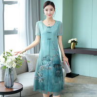 2019 summer clothing girls national daily improved cheongsam stand collar plate buttons lace dress female chinese dress qipao