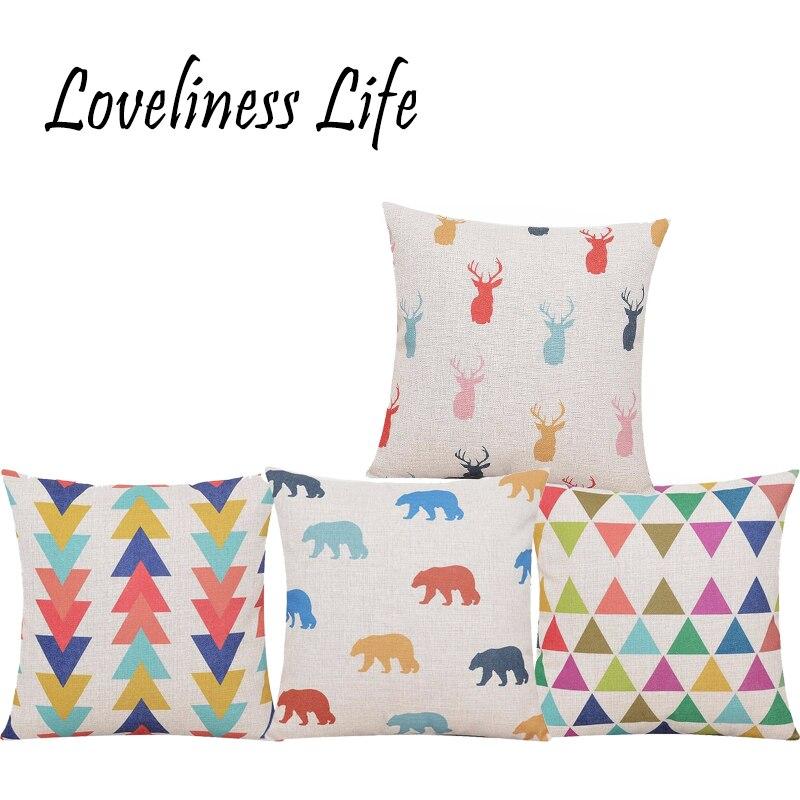 Inicio Estilo nórdico Simple Color Geométrico Reno Impreso Cojín - Textiles para el hogar