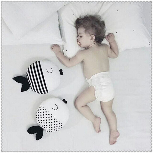 Fashion PP Cottion Fish Baby Pillow Spot/Stripy Cartoon Design Handmade Pillows Boys/Girls White/Black Soft Back Cushion 40*40cm