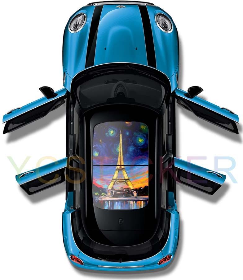Aliexpress vente en ligne cool tour eiffel graphique voiture panoramique toit ouvrant vinyle stickers protection uv auto-adhésif autocollant peau