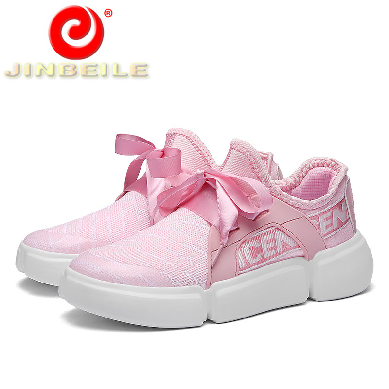 JINBEILE Pretty Ribbon Big Size Women Sneakers Breathable Flexible Solid  Women Running Shoes Pink Outdoor Sports Shoes Women b917f6a131