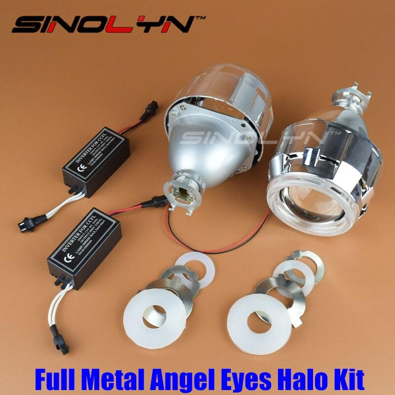 ФОТО SINOLYN Upgrade Metal 2.5 MH1 Pro Leader HID Bixenon Projector Headlight Lens With CCFL/COB Angel Eyes Halo Car Styling H4 H7