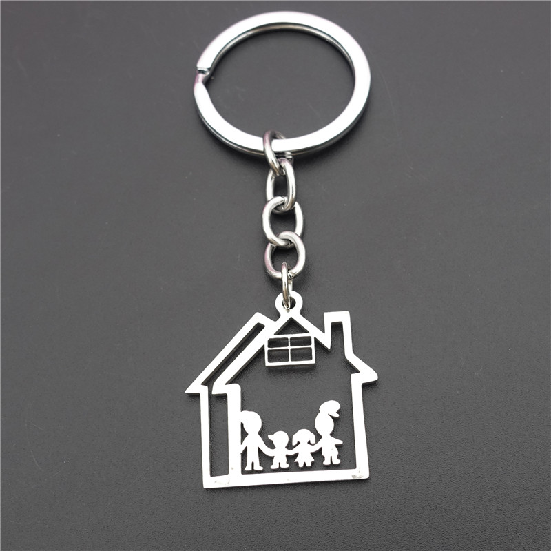 Cottage Family House Parents Children Keyring Stainless Steel Dad Mom Kids Boy Girl Mermbers Keychains Jewelry