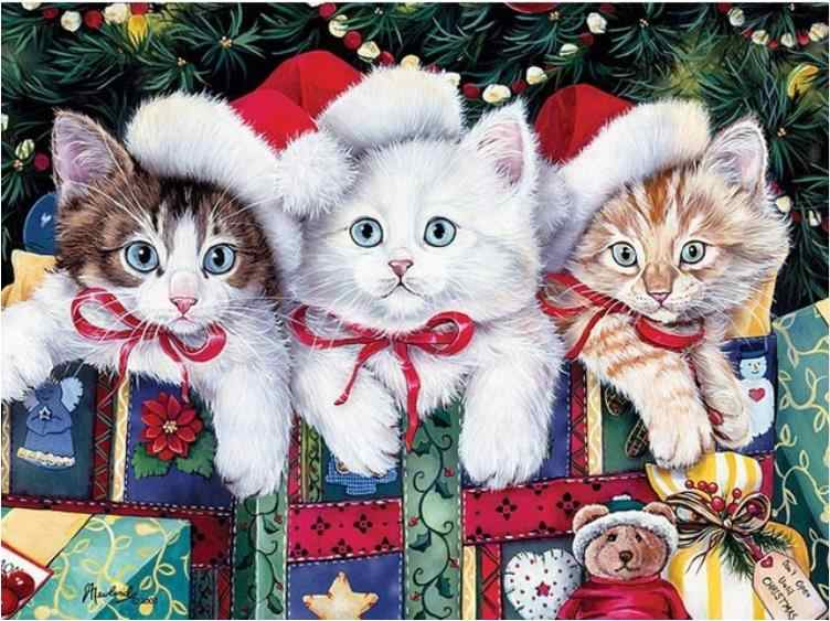 5D יהלומי ציור בעלי החיים חתולים צלב תפר DIY יהלומי רקמת יהלומי rhinestones בית תפאורה חג המולד מתנות