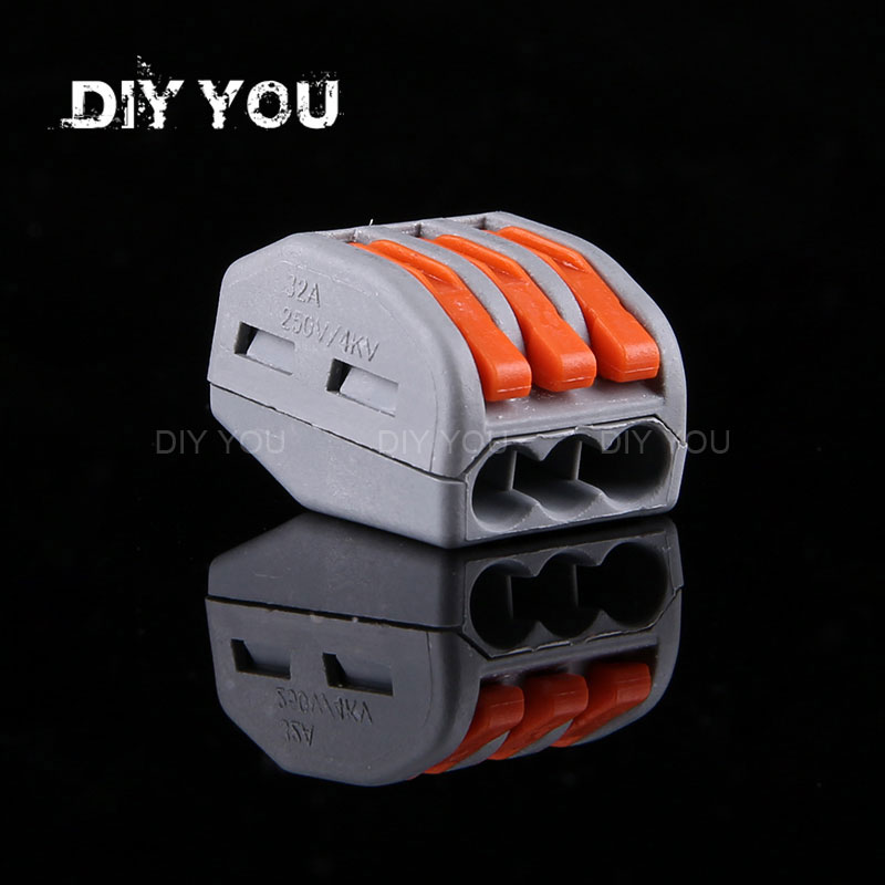 30/50/100PCS/lot PCT-213/DIY YOU 222-413 Mini Fast Wire Connectors Universal Compact Wiring Connector Push-in Terminal Block