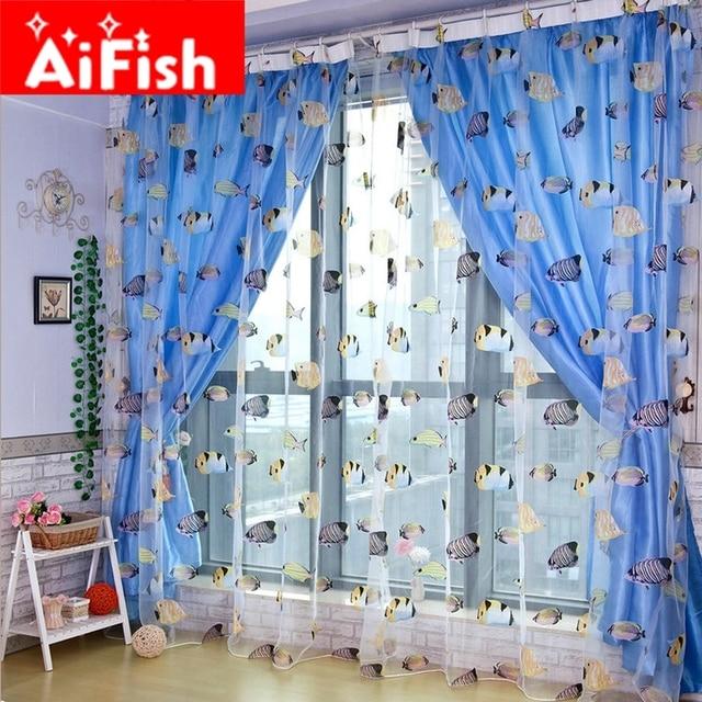 Perfect Kidu0027s Cartton Fashion Colorful Blue Heaven Ocean Sea Life Fish Windows  Curtains Tulle Panels Curtain For