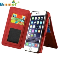 Top Quality New Arrival Elegant Leather Removable Wallet Flip Card Case Cover For IPhone6 Plus 6S