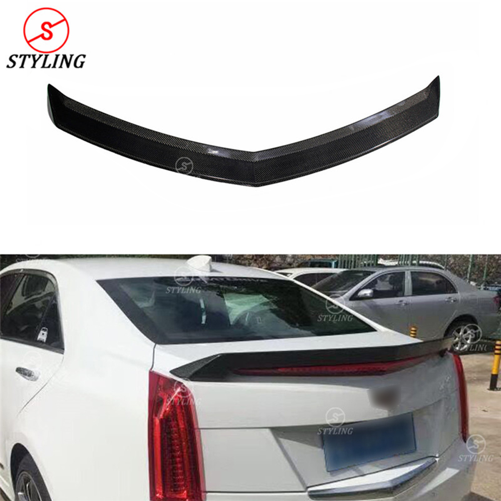 For Cadillac ATS Carbon Rear Spoiler V Style Sedan ATS Carbon Fiber rear spoiler Rear trunk wing Gloss Black Finish 2015 UP