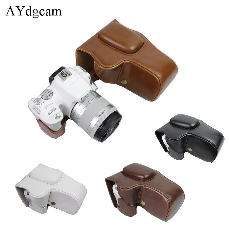 New Pu Leather Camera Video Case Bag Cover For Canon 200D Camera With Strap Black brown coffee white