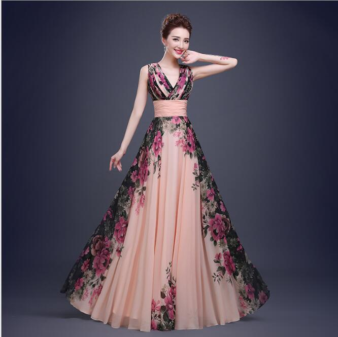 Floral Print Long   Bridesmaid     Dresses   Sleeveless Sexy Formal Gowns vestido de noiva Maxi Tiered Chiffon   Dress   2018 Q010