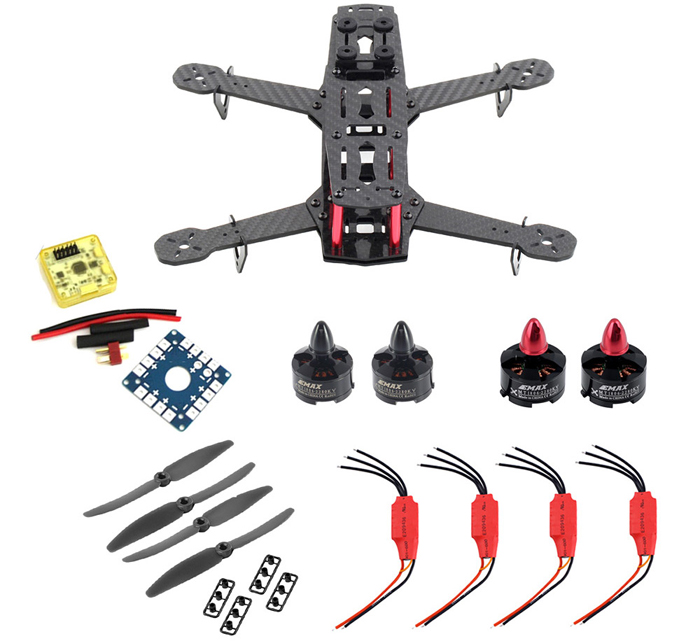 Xiangtat Airframe Carbon Fiber Multirotor Frame kit Set for QAV250 with Mini Motor 12A ESC CC3D Flight Controller