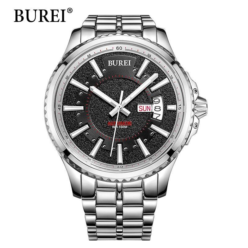 BUREI Mechanical Watches Top Fashion Brand Male Business Clock Special Sapphire Steel Band Waterproof Automatic Watch Hot Sale burei woman watch top fashion brand female clock diamond sapphire mechanical wristwatches gold steel band waterproof watches hot