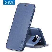 X-Niveau De Luxe D'affaires PU Étui En Cuir pour Samsung Galaxy S6 Flip Couverture pour Samsung S6 G920A G920F G920FD G920I Stand cas