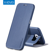 X Level Business Style PU Leather Flip Phone Case For Samsung Galaxy S6 Luxury Stand Case