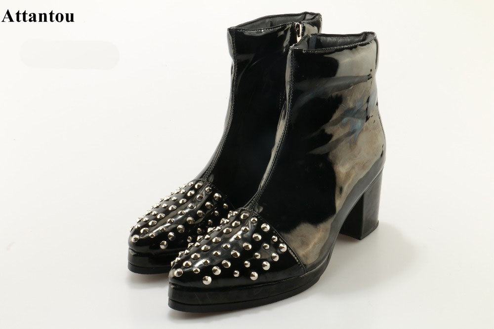 Autumn Newest Pointed Toe Block Heel Ankle Boots Fashion Black Leather Rivets Studded Short Boot Fashion Punk Style Riding Booty new fashion black pu leather lace up martin boot woman round toe riding boots designer chain motorcycle short booty