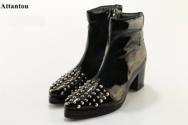 Women's Punk Studded Buckle Pointed Toe Short Motor Ankle Boots With Heels