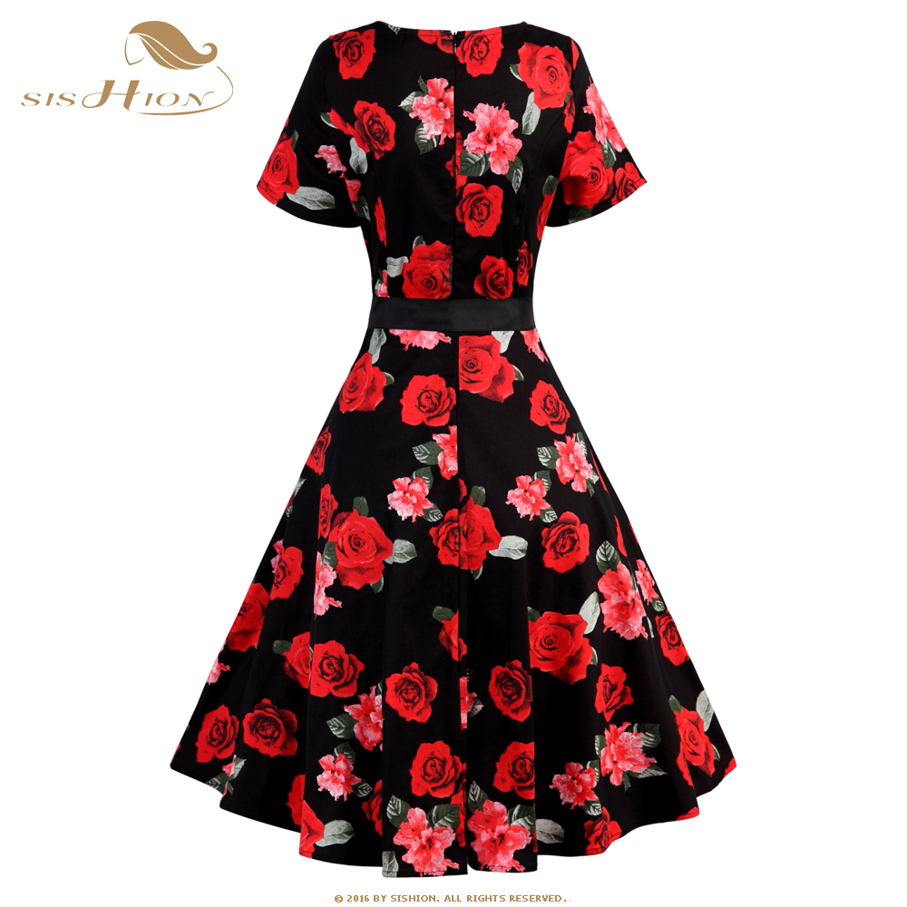 9980e9acb8bc SISHION Short Sleeve Cotton Floral Dress Black White Plus Size Pinup Swing Retro  Women 50s 60s Vintage Summer Party Dress VD0552-in Dresses from Women s ...