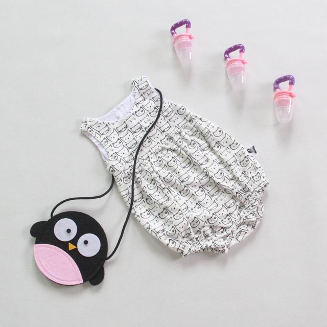 Essencial Meninas Bonitos Do Bebê Lactentes crianças Novo Design Cheio de Impressão Gato Sem Mangas Roupas de bebê Recém-nascido Romper Sem Encosto