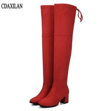 CDAXILAN new arrivals over the Knee Boots Women Faux Suede Thigh High Boots 6cm high-heel Stretch Slim Sexy Ladies Winter Boots цена