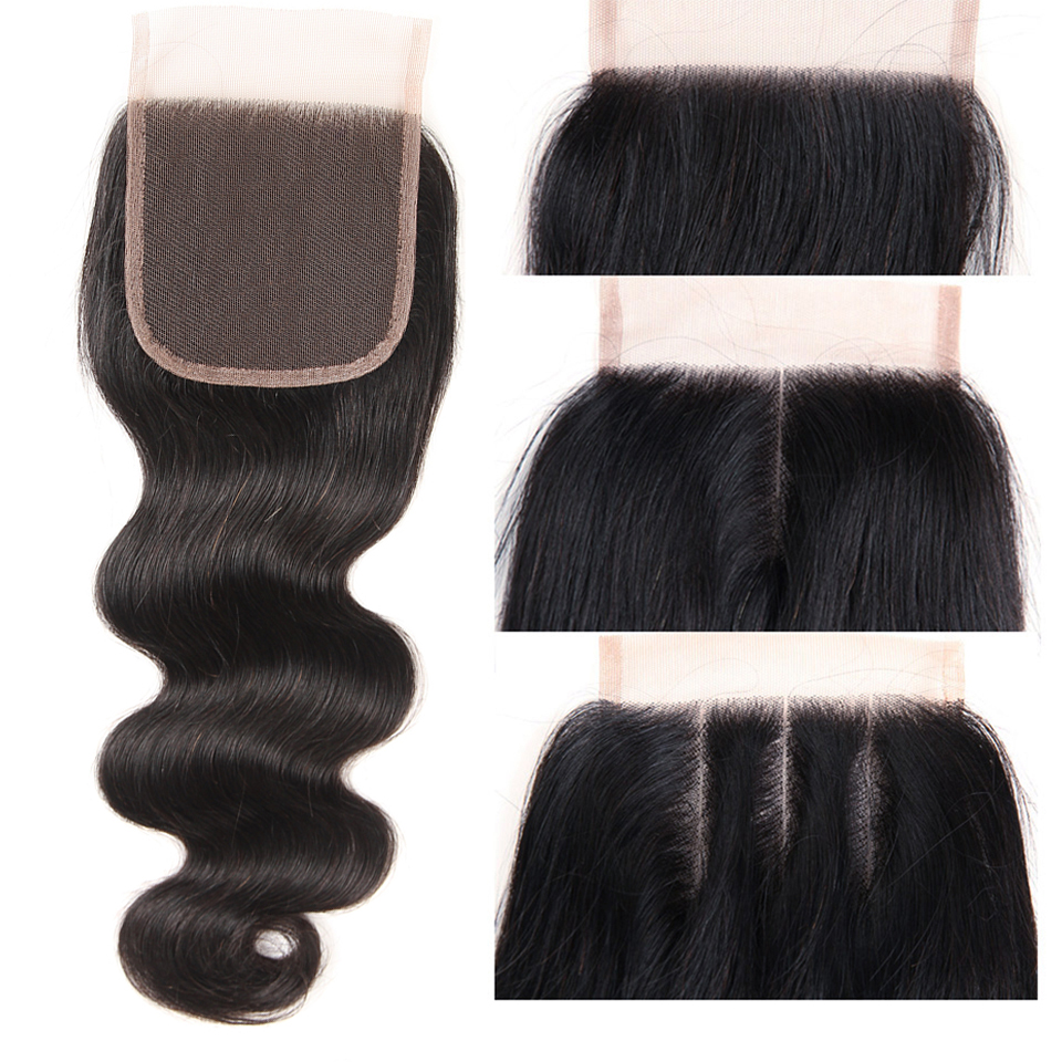 Joedir Indian Human Hair Bundles Med Closure Non Remy Body Wave 3 - Skønhed forsyning - Foto 5