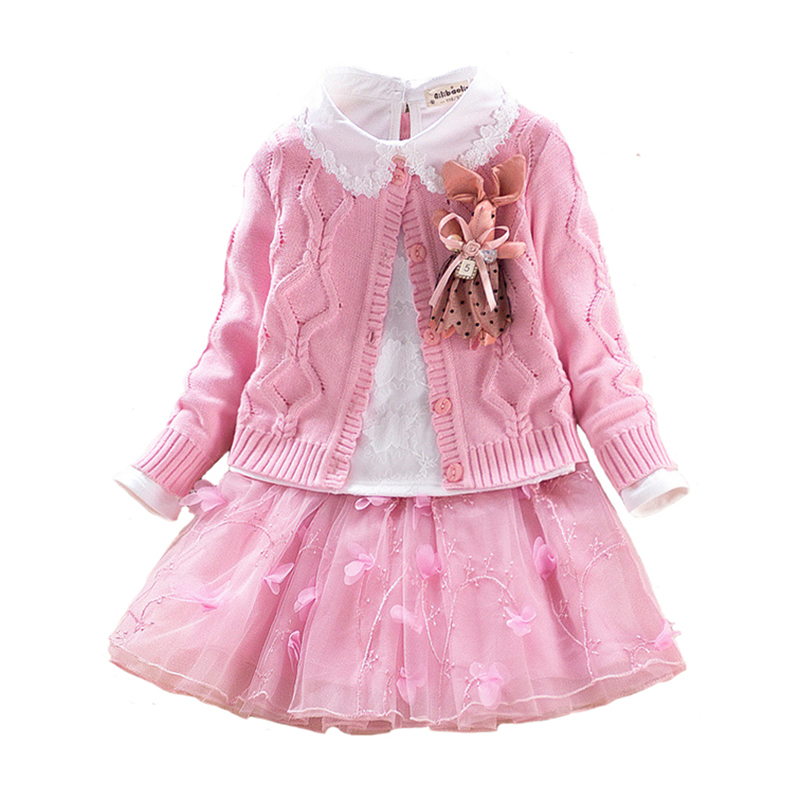 Autumn Winter Children`s Clothes Set Girls Sweater Coat+cotton Blouses+lace Skirt 3pcs Suit Girls Princess Shcool Clothing 4y-8y children s clothing new spring and autumn 2015 children s skirt suit children s three piece children s suits