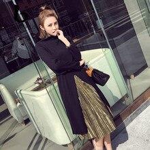 FINEWORDS Водолазка Осень бархат вязать платье длинный рукав длинный свитер вязаное платье Винтаж Корейский плюс Размеры халат платья 2 шт.