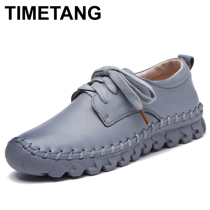 TIMETANG 8 Colors Spring Women Leather Shoes Comfort Women Moccasins Loafer Flat Shoes Casual Handmade Shoes