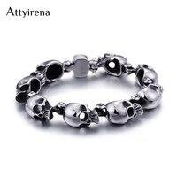 ATTYIRENA Punk Rocker Skull Skeleton Bracelet Men 316L Stainless Steel Male Jewelry Ghost Mens Bracelets & Bangles Gift For Him