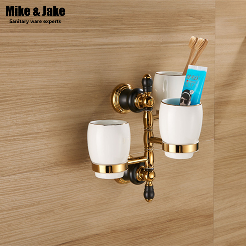 Luxury golden brass three cup holder luxury style Golden copper toothbrush double tumbler 3pcs cup holder wall bath cup rack
