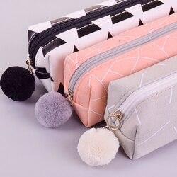 New Concise cor Sólida Meninas caixa de lápis estudante estojos para menina da escola saco do lápis da lona de papelaria estojo escolar