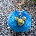 10 cm Simulación de Piel de Conejo Pompón Bola de Peluche Llavero con Dibujos Animados Micky Llavero Chapado en oro Llavero Bolso de Las Mujeres encantos