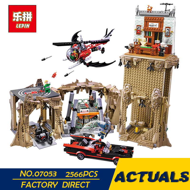 LEPIN 07053 2566pcs Genuine DC Batman Super Heroes MOC Batcave Educational Building Blocks Bricks Toys Gift for children 76052 single sale pirate suit batman bruce wayne classic tv batcave super heroes minifigures model building blocks kids toys gifts