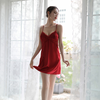 dd28ff58ed Woman Mini Nightgowns Sexy Silk Lace Spaghetti Strap Solid Lady ...