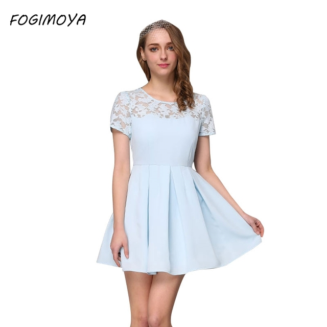FOGIMOYA Dress Women Summer 2017 Fashion Lace Embroidery Patchwork Hollow Out Dresses Women's O Neck Mini Bodycon Lace Dress