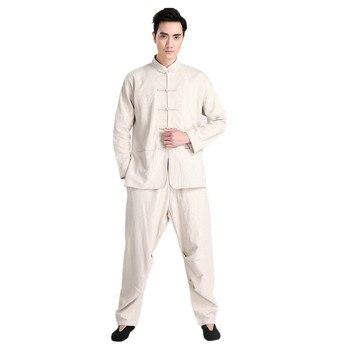 New Arrival Beige Chinese Men Kung fu Uniform Cotton Tai Chi Suit Vintage Button Clothing M L XL XXL XXXL 2601-1
